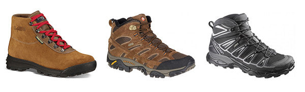 Hiking boots and lightweight hikers.