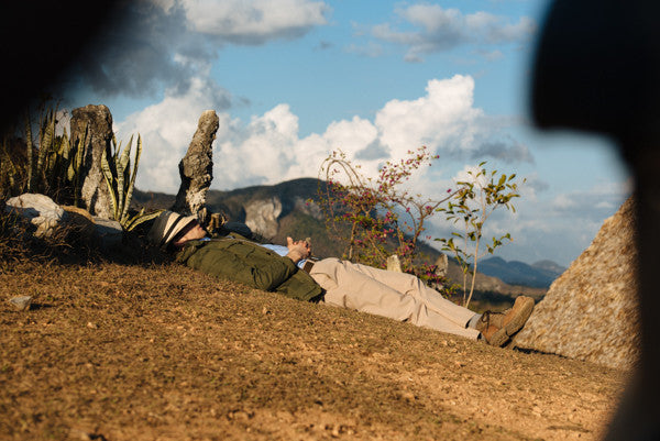 In Cuba, Stefan takes a nap in the dirt while wearing his Bluffworks Originals in Khaki.