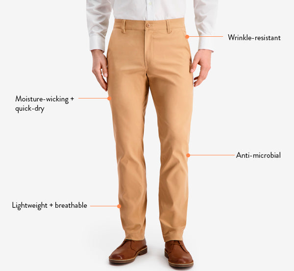 Fabric details of our new Ascender stretch chinos.