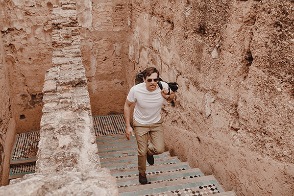 Stefan wears the Ascender travel chinos and the Threshold Performance Tee on location in Morocco.