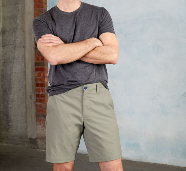 Ascender Shorts in Desert Sage, worn by model with the Threshold T-Shirt.