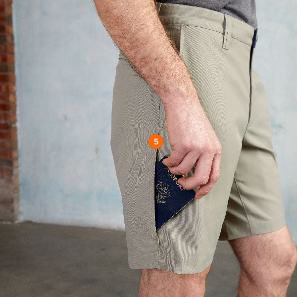 Detail pocket infographic for the Ascender Shorts.