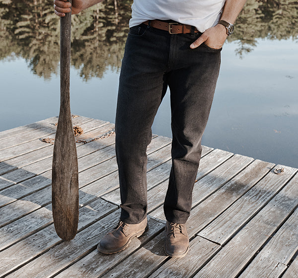 Wearing the Departure Jeans 2.0 on the dock