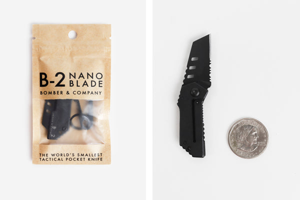 The Bomber nano blade is only a bit bigger than a silver dollar.
