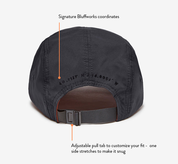 Back view of the Eardley Men's Cap, which has an adjustable pull tab for the perfect fit.