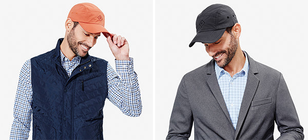 Our men's caps are available in two colors: Burnt Orange and Slate Grey.