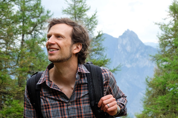 Me in the French Alps wearing Bluffworks hiking shorts and a travel shirt.