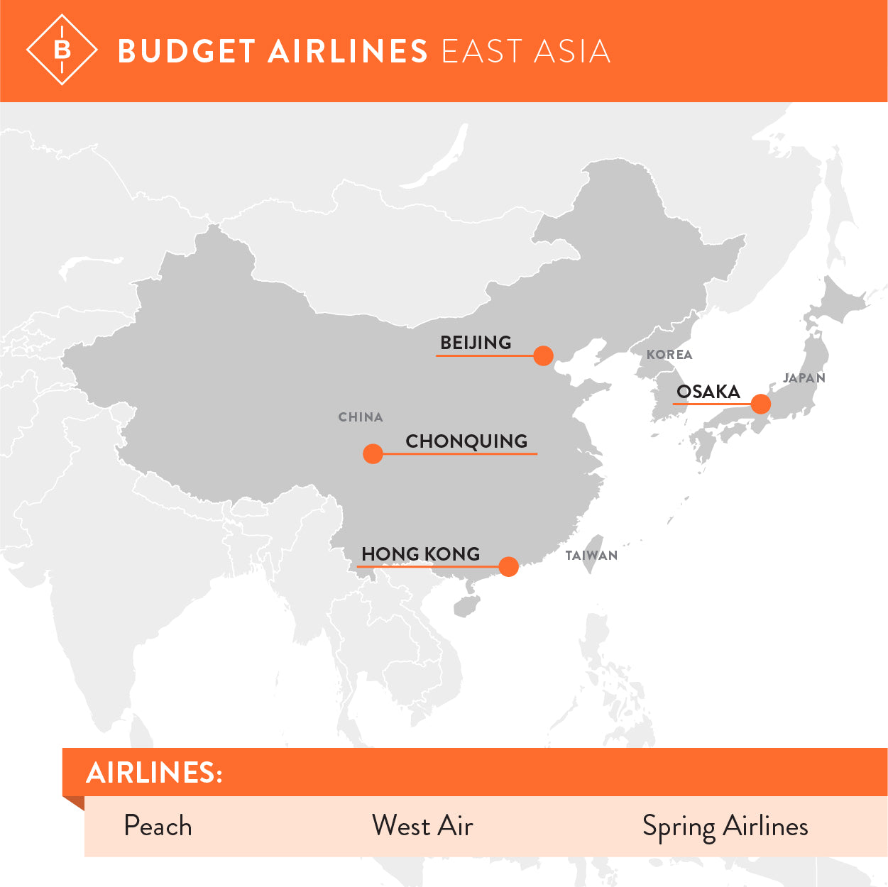Options for low cost carriers in East Asia.