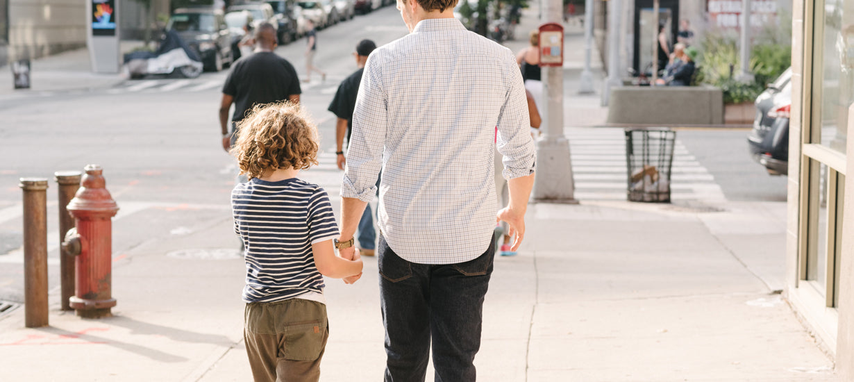 Jules and I walking down the street in NYC in summer.
