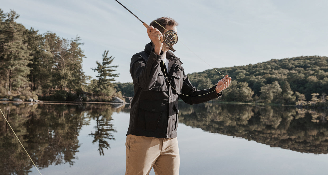 Field jacket worn while fly fishing