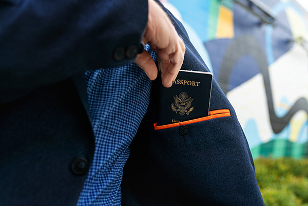 A travel blazer with hidden security pockets to hold your passport and other valuables.