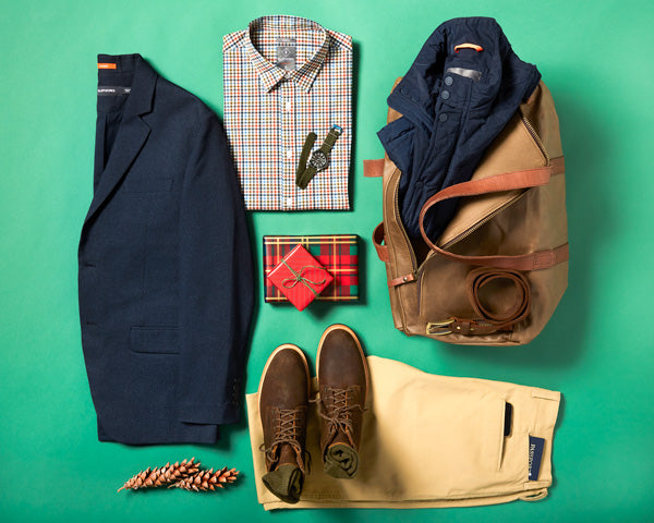 Stylish men's travel outfit for holiday.