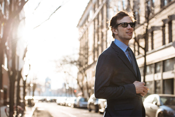 The machine washable suit, worn on a crisp fall day in New York.