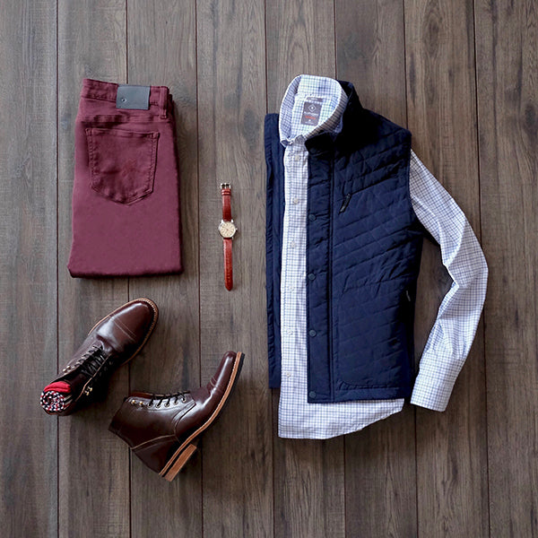Quilted vest paired with our men's performance dress shirt.