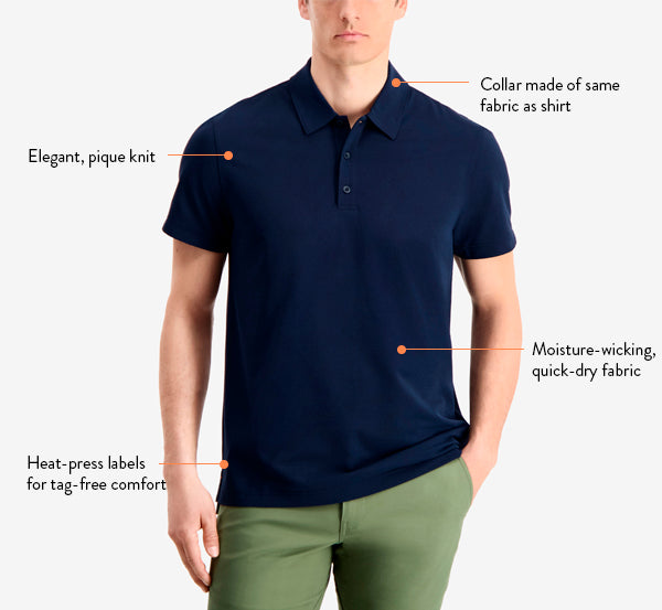 Our men's performance polo shirt is durable, elegant, and breathable.