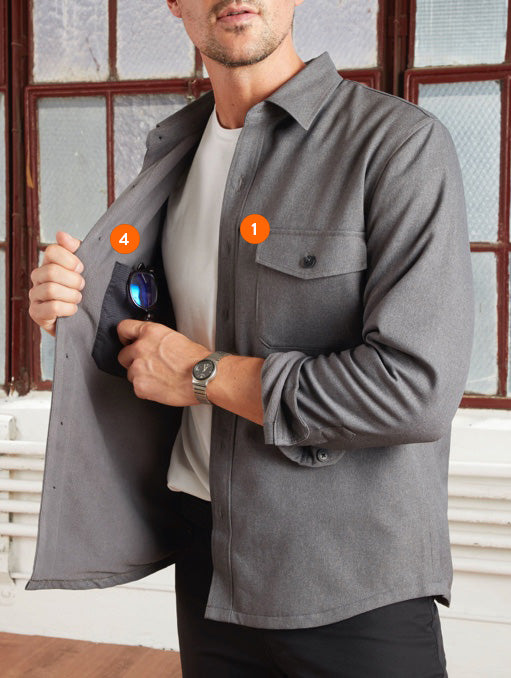 Pocket diagram showing front patch and inside chest pocket of Gramercy Shirt Jacket