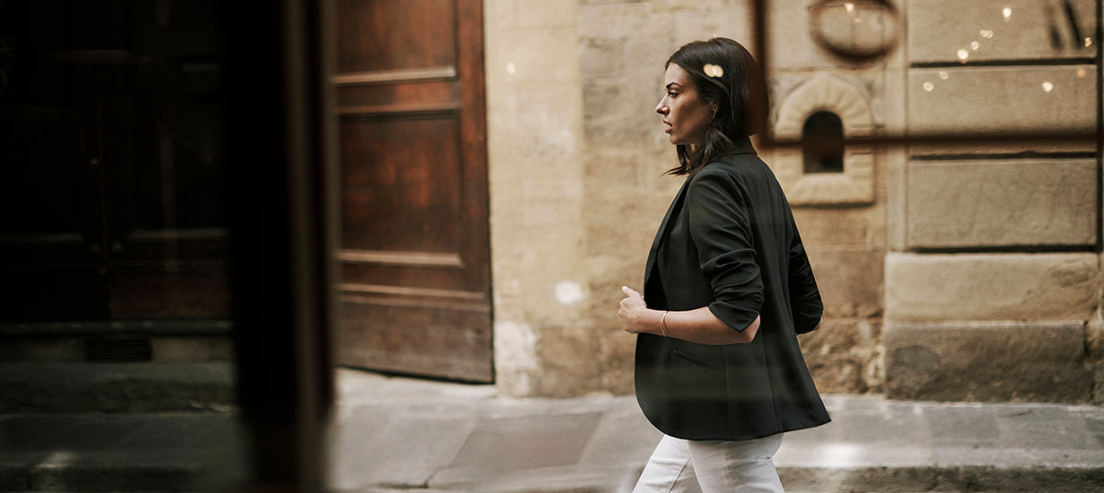 Wearing the Trevi Blazer in Italy