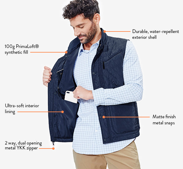 Lightweight, but insulated, the vest is a great layering piece.