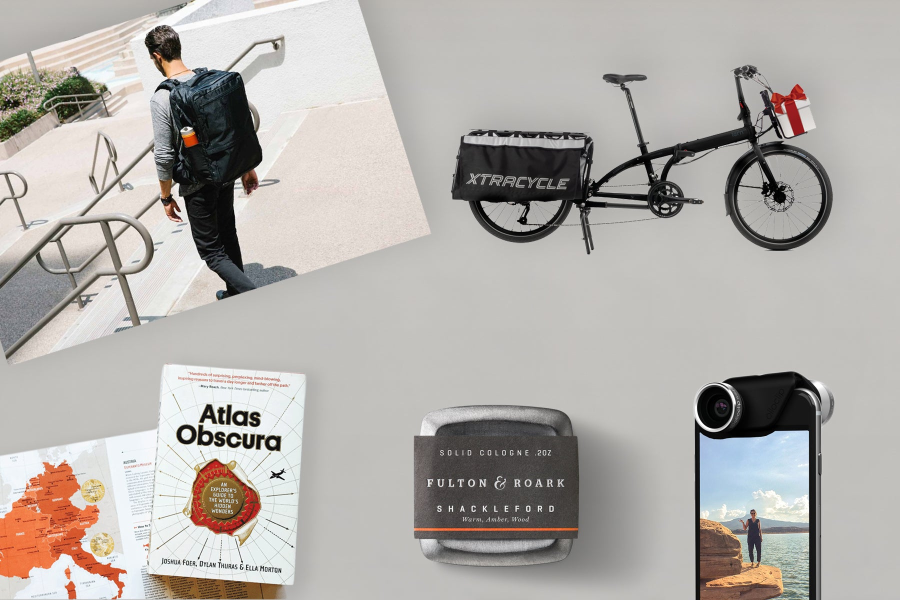 The Bluffworks gift guide showing a Tortuga backpack, Xtracycle bike, Fulton + Roark cologne, and more.