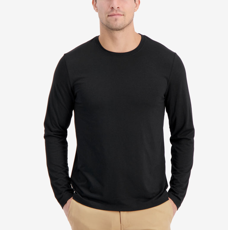 Threshold Crew Neck Long Sleeve T-Shirt Slim Fit - Final Sale - Onyx Black