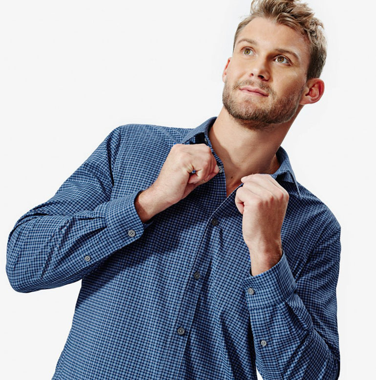 Meridian Dress Shirt 2.0 Classic Fit - Deep Blue Mini-Check