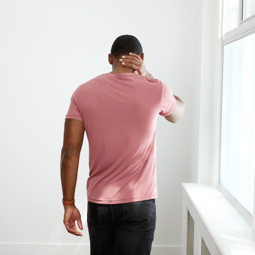 Threshold V-Neck T-Shirt Slim Fit - Pale Mulberry