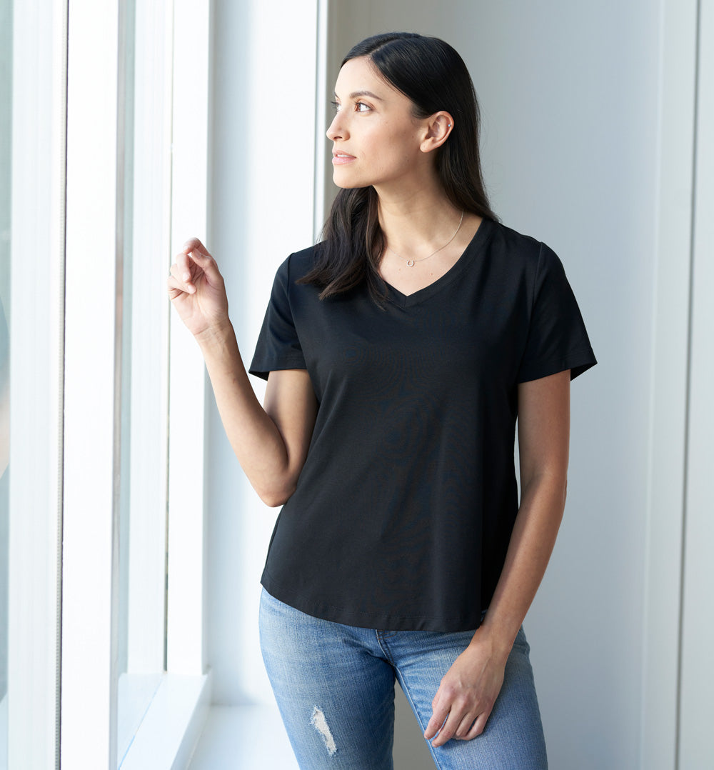Threshold V-Neck T-Shirt Standard Fit - Onyx Black