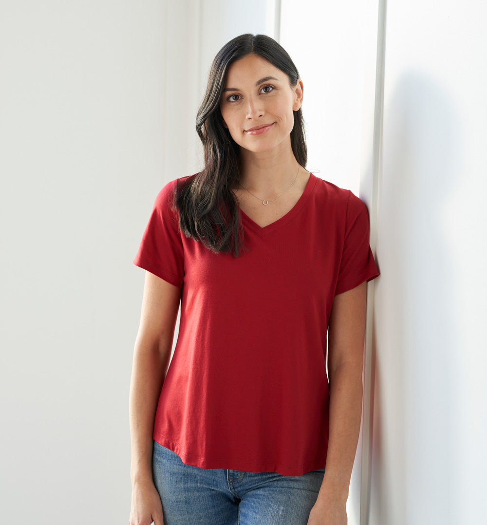 Threshold V-Neck T-Shirt Petite Fit - Dark Crimson