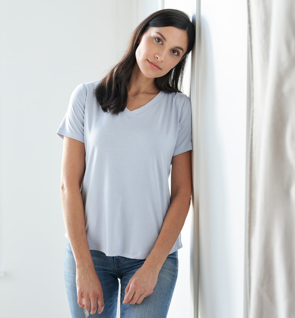 Threshold V-Neck T-Shirt Petite Fit - Ice Cap Blue