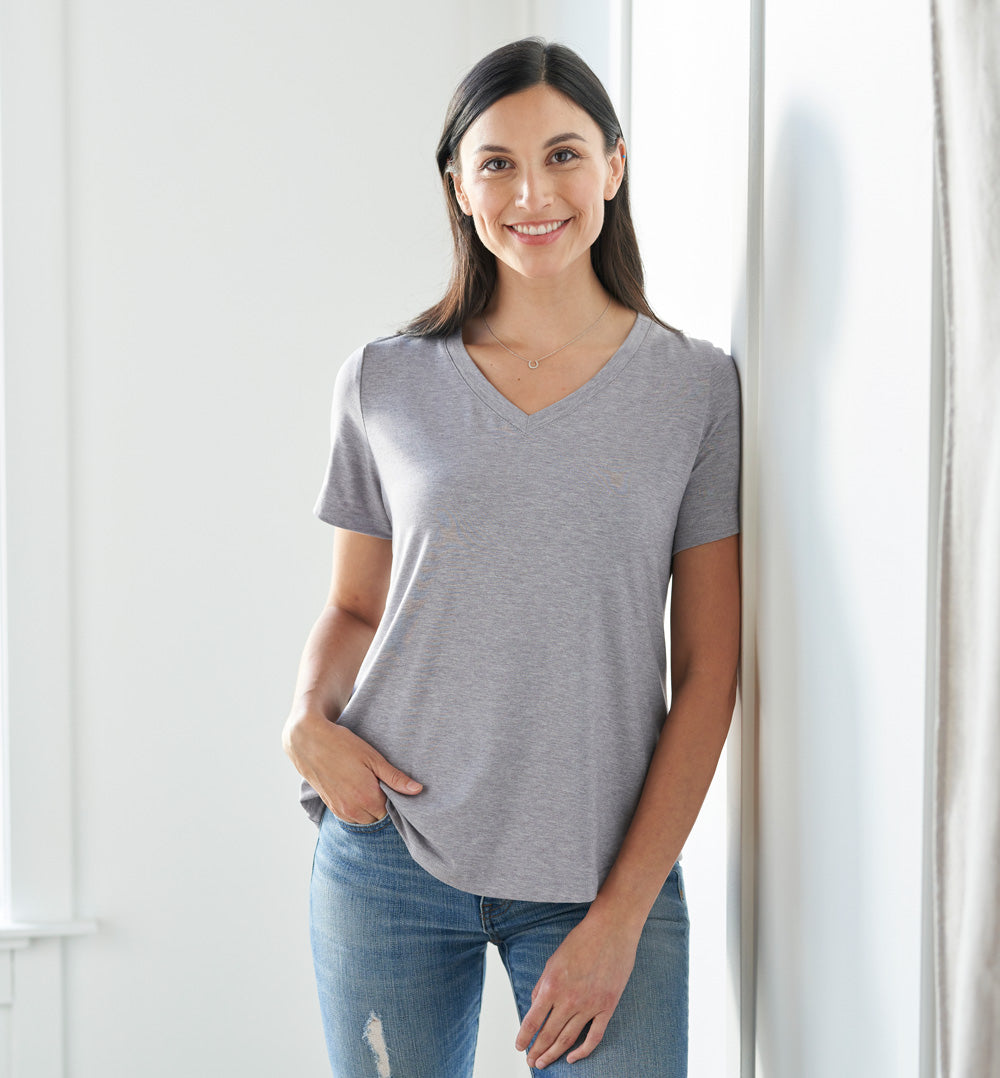 Threshold V-Neck T-Shirt Standard Fit - Mist Grey