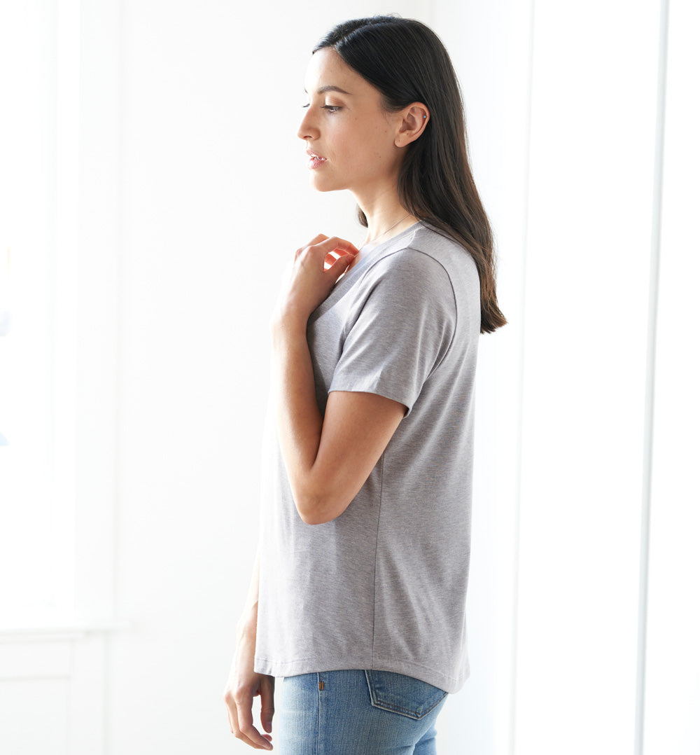 Threshold V-Neck T-Shirt Petite Fit - Mist Grey