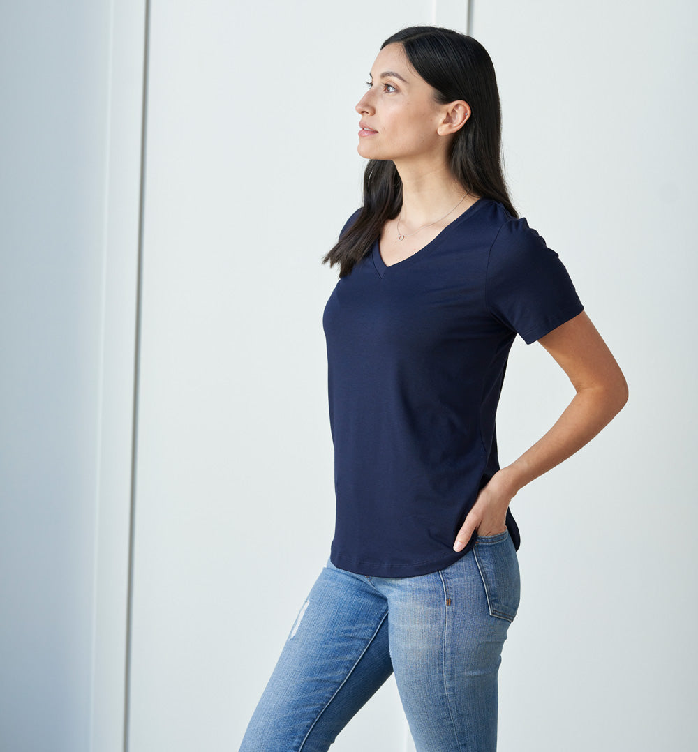 Threshold V-Neck T-Shirt Petite Fit - Maritime Blue