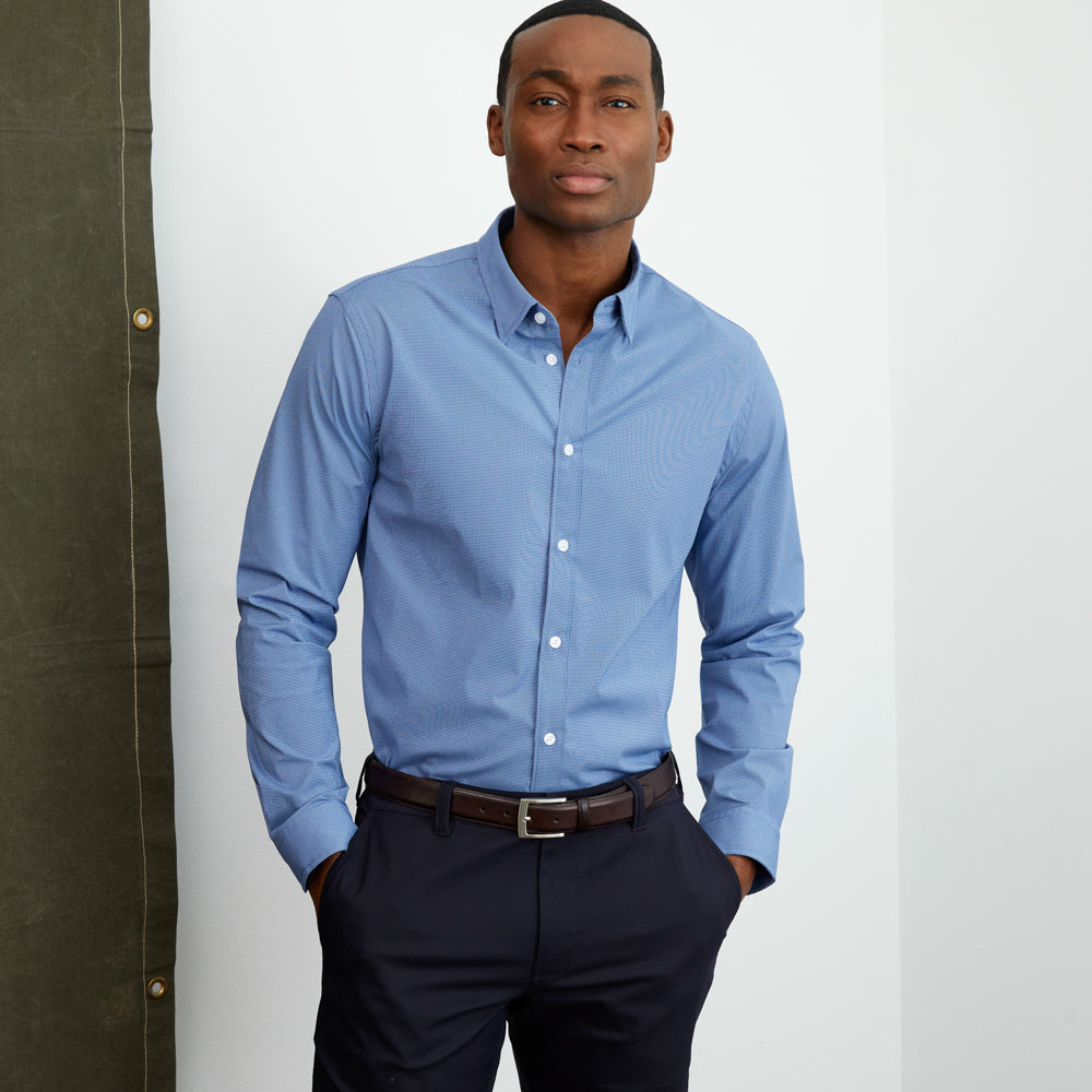 Zenith Dress Shirt Classic Fit - Blue Micro-Check
