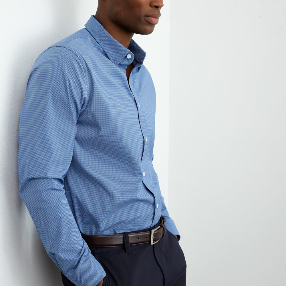 Zenith Dress Shirt Slim Fit - Blue Micro-Check