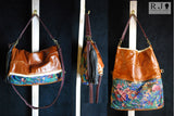 Reclaimed Leather Two Way Messenger and Shopper with Vintage fabric - Tan leather