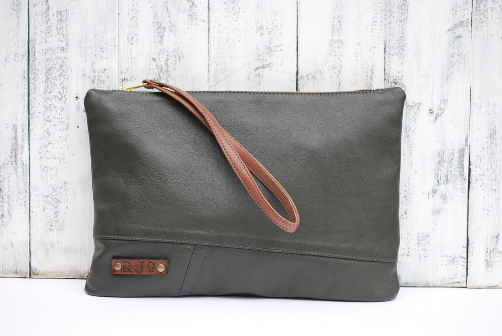 Large Green Upcycled Leather ipad/Clutch Wristlet