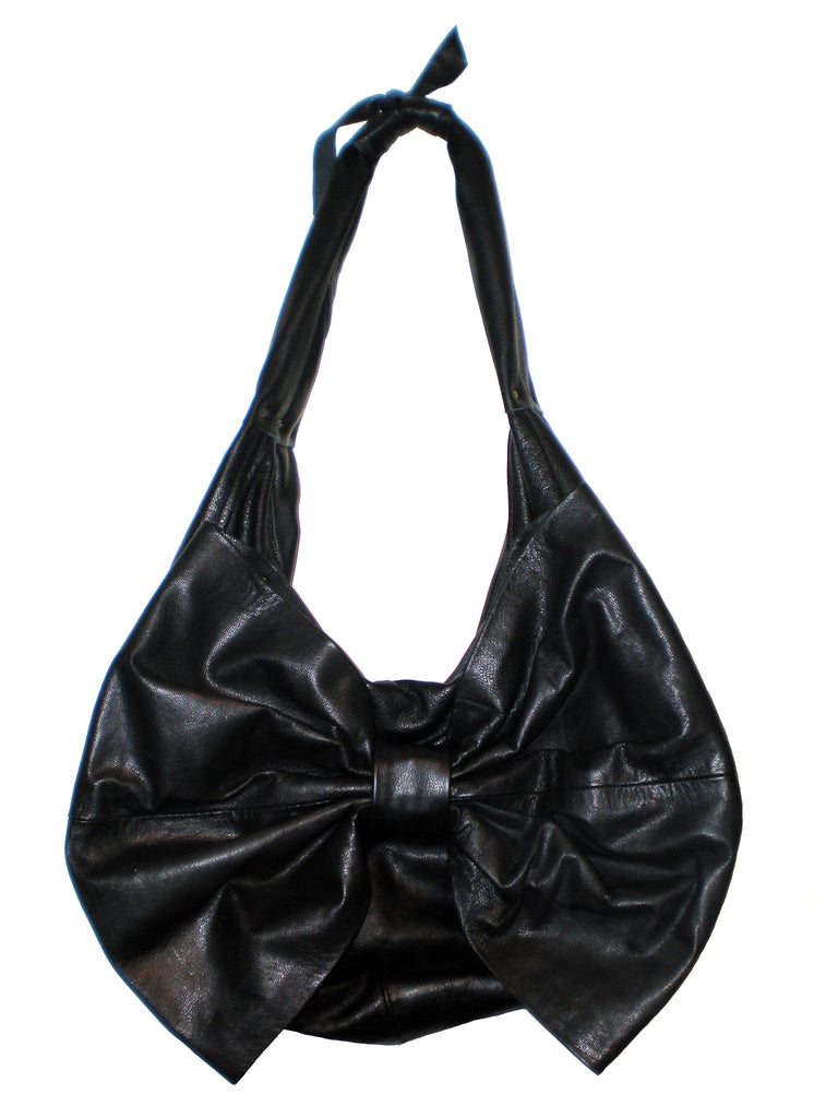 Upcycled Leather Large Bow Bag