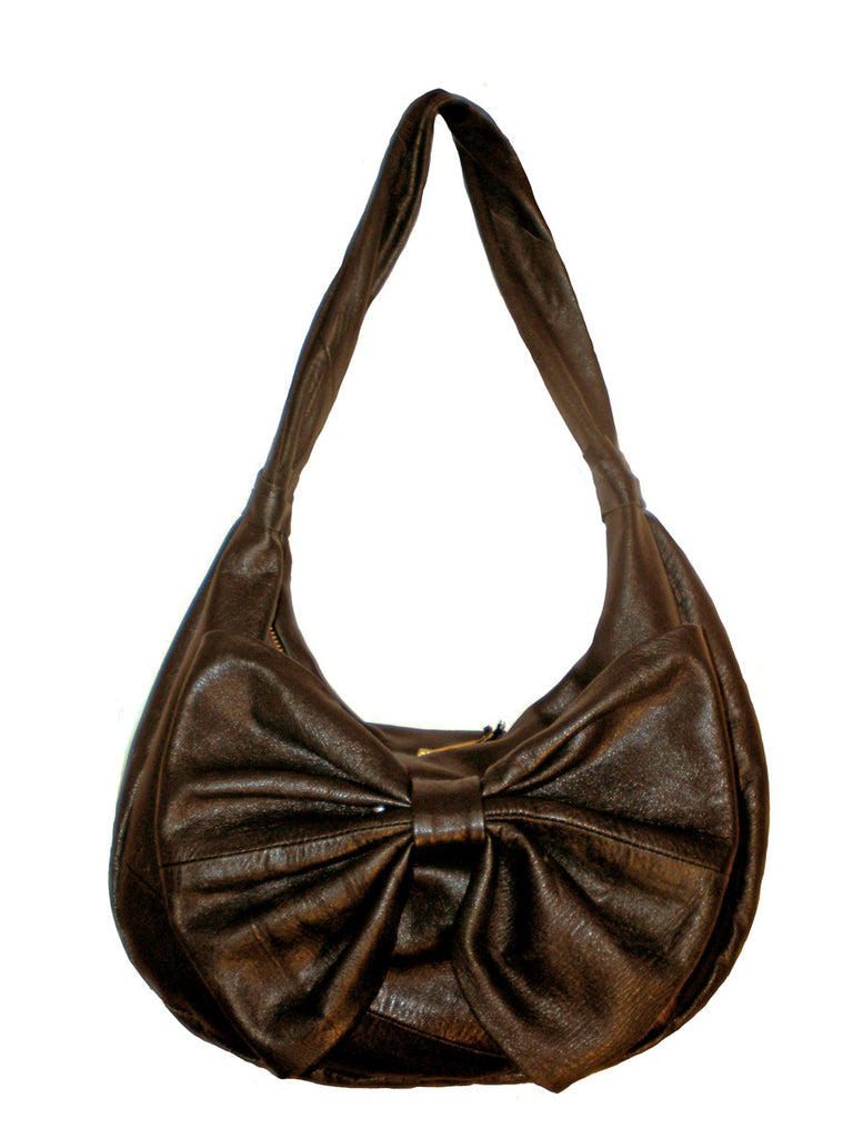 Upcycled leather Medium Hobo Bow Bag