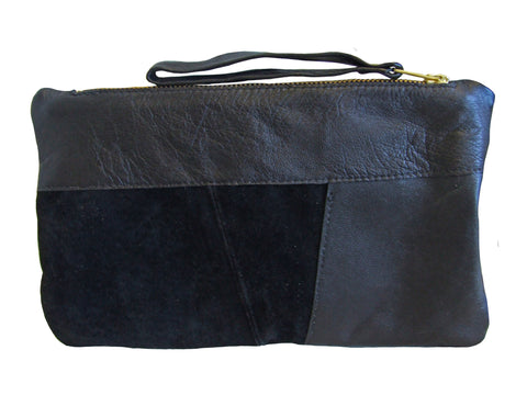 Reclaimed leather Clutch - Augustus Brown Patched leather