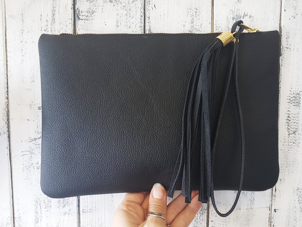 """ The Arthur"" Leather Clutch with tassel Kit - £65"