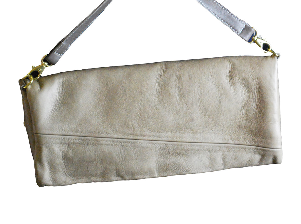 "Reclaimed Leather Large ""Augustus"" Clutch - Grey"