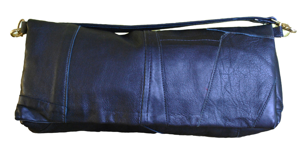 "Reclaimed Leather Large ""Augustus"" Clutch - Black Patch"