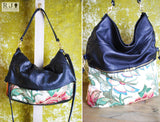 Reclaimed Leather Two Way Messenger and Shopper with Vintage fabric - Black