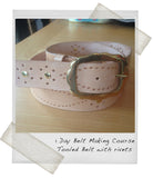 1 Day Belt Making Course - Vegtan, tooled with rivets