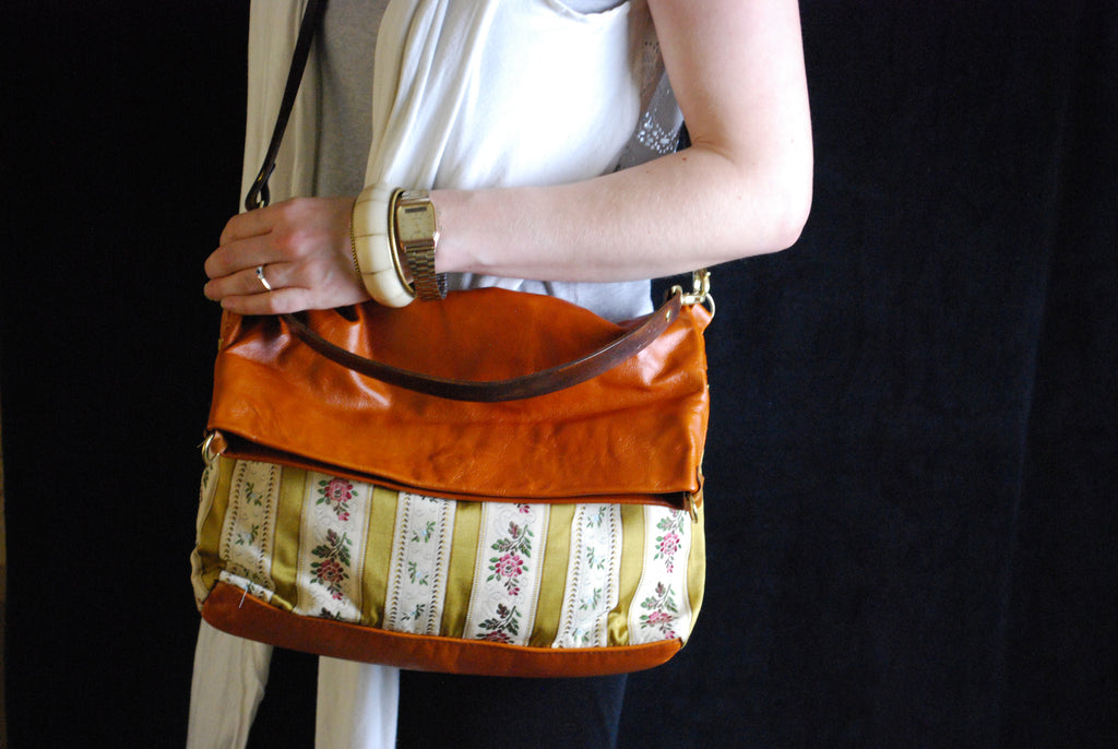 Reclaimed Leather Two Way Messenger and Shopper with Vintage fabric - Orange leather