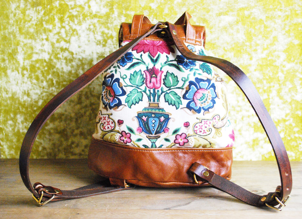 Vintage Fabric Backpack with leather trim
