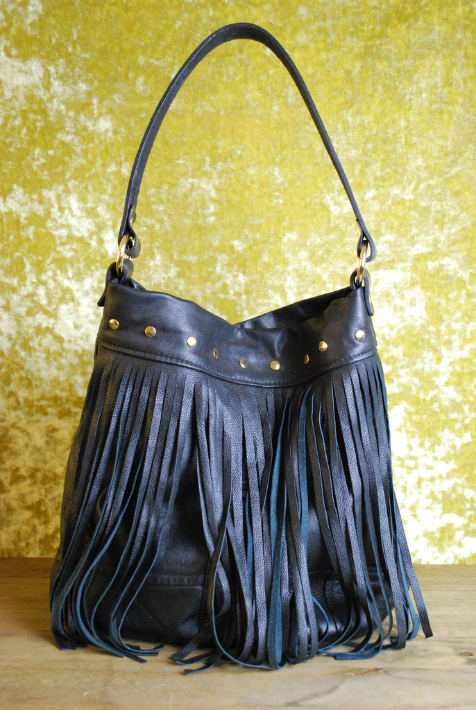 Reclaimed Leather Shopper Tassel Bag