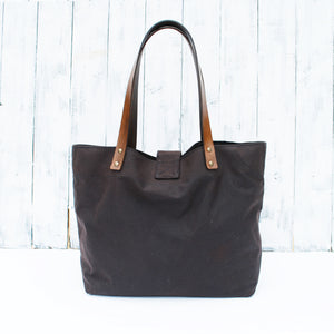 Waxed Cotton T-Base Tote - Kit & Paper - £65