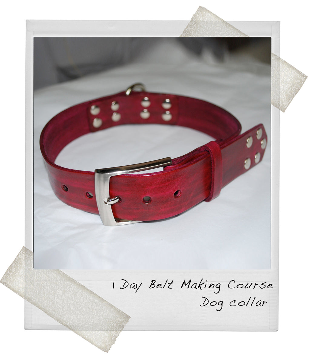 1 Day Leather Belt Making Course - Red dog collar