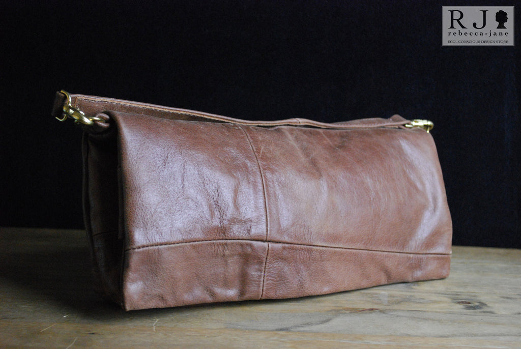 "Reclaimed Leather Large ""Augustus"" Clutch - Brown"